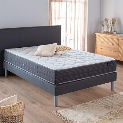 Ensemble de lit tête de lit droite - gris 160x200cm-RIOU