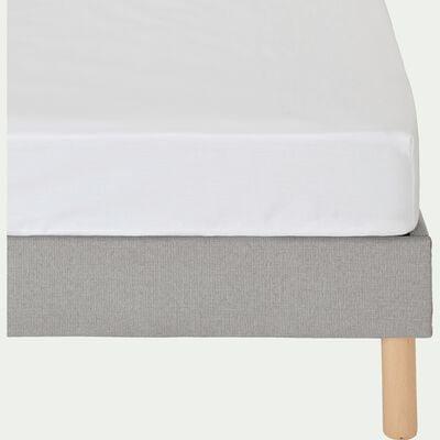 Drap housse en coton - blanc 90x200cm B25cm-CALANQUES
