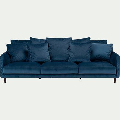 Canapé 6 places fixe en velours - bleu figuerolles-LENITA