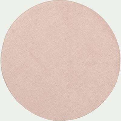 Tapis rond imitation fourrure - rose argile D150cm-ROBIN
