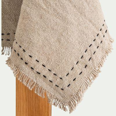 Nappe en lin et coton à surpiqûres et franges - naturel 140x250cm-ORLA