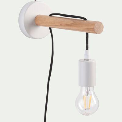 Applique en bois et métal blanc ventoux-BASTIA