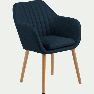 Chaise capitonnée en tissu avec accoudoirs - bleu marine-SHELL