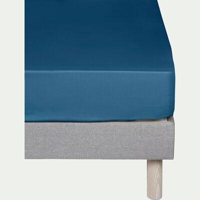 Drap housse en coton - bleu figuerolles 160x200cm B25cm-CALANQUES