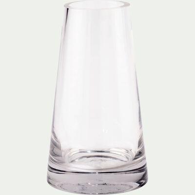 Vase conique en verre épais - transparent H18,5cm-GALICE