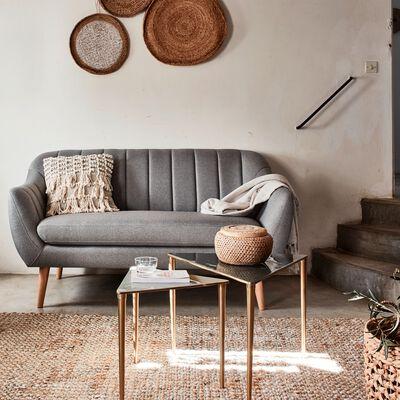 Canapé 2 places fixe en tissu - gris clair-SHELL