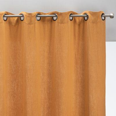 Rideau à œillets en lin lavé - beige nèfle 140x280cm-VENCE