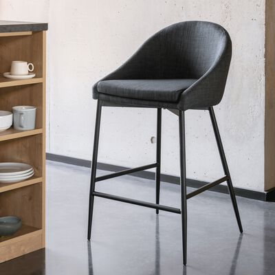 Chaise de bar en tissu gris foncé pieds métal noir - H66cm-ABBY
