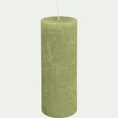 Bougie cylindrique - vert garrigue H19cm-BEJAIA