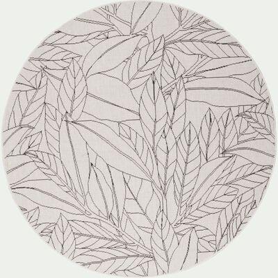 Tapis rond intérieur et extérieur motif Laurier - blanc écru D120cm-LAURIER