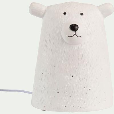 Lampe à poser électrifiée forme ours en porcelaine - blanc H16,2cm-Lumy