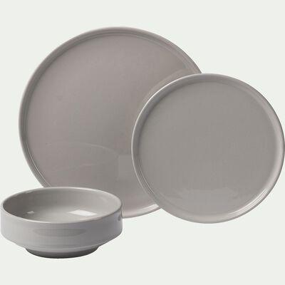 Coffret de vaisselle 12 pièces en faïence - gris borie-VADIM
