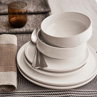 Coffret de vaisselle 12 pièces en faïence - blanc-VADIM
