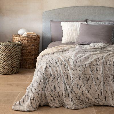 Couvre-lit réversible effet fourrure - gris 180x230cm-Lalou