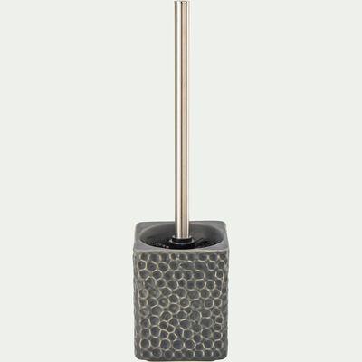Brosse et porte-brosse wc en céramique martelée - gris-NEVA