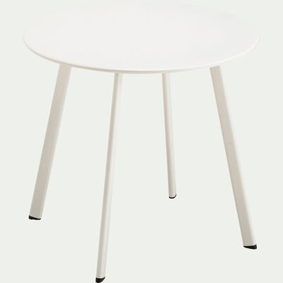 Table basse ronde en acier D50cm - blanc-ELIO