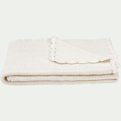 Plaid enfant en coton 80x100cm - blanc écru-Yona