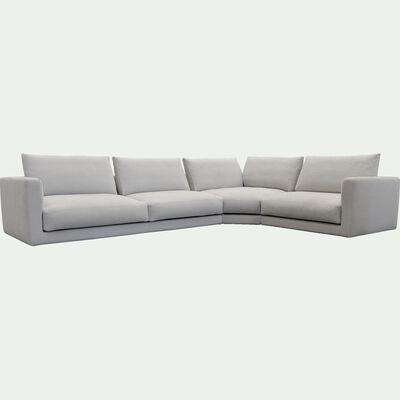 Canapé d'angle 5 places droit en tissu - beige roucas-AUDES
