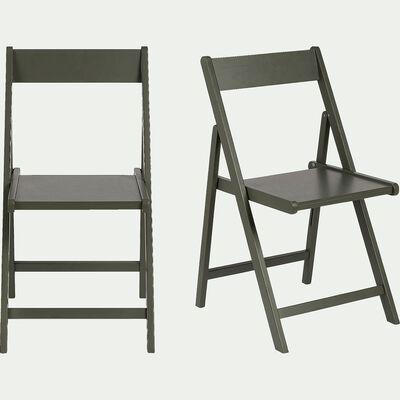 Chaise pliante en bois - vert cèdre-JULIA