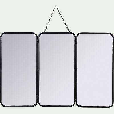 Miroir de barbier en fer - noir 109x71cm-CORENTIN