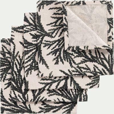 Lot de 4 serviettes de table en lin et coton  41x41cm - vert-MALON
