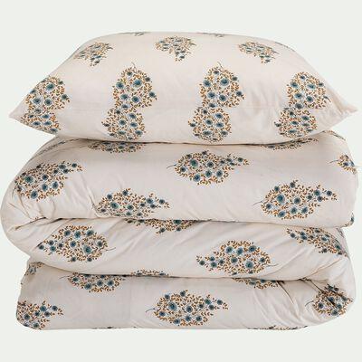 Housse de couette et 2 taies d'oreiller en coton motif indien - blanc 240x220cm-DABU