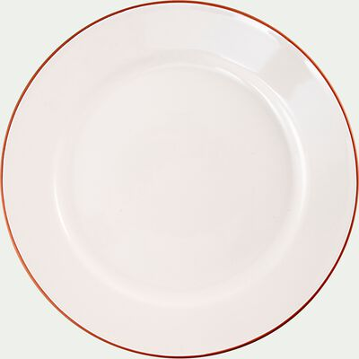 Assiette plate liseré terracotta en faïence - blanc D27cm-SOLLER