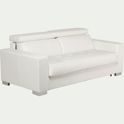Canapé 3 places convertible en cuir de buffle - blanc-Mauro