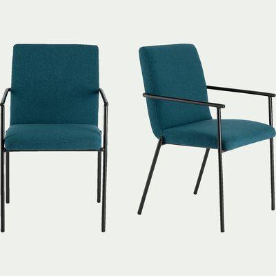 Chaise en tissu avec accoudoirs - bleu figuerolles-JASPER