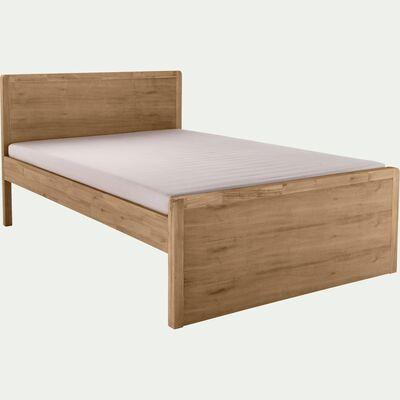 Lit 2 places avec tête de lit en acacia - bois clair 140x200 cm-GAIA