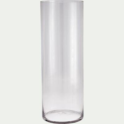 Vase tube en verre épais - transparent H50cm-SABBIA