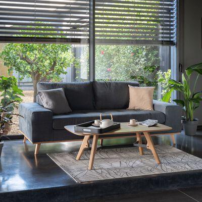 Canapé 3 places fixe en tissu - gris anthracite-PICABIA