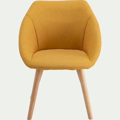 Chaise en tissu avec accoudoirs et piètement naturel - jaune argan-ELIA