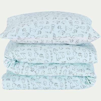 Housse de couette enfant motifs lapins 120x140cm et 1 taie 35x45cm - vert-Bestiaire