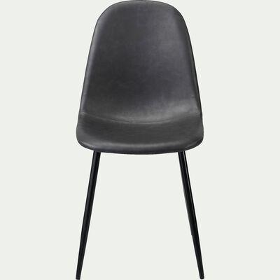 Chaise en acier et simili avec piètement noir -  noir-LOANA