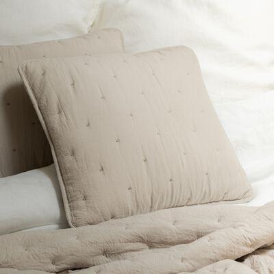 Coussin effet capitonné en polyester - beige alpilles 45x45cm-BADOUR