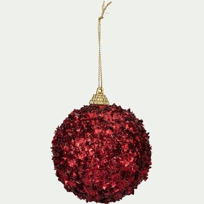 Boule de Noël en plastique bordeaux D8cm-DOROTEA