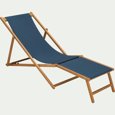 Chilienne et repose pied de jardin en acacia et tissu - bleu figuerolles-UDINA