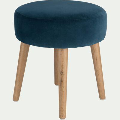 Pouf en velours bleu figuerolles-PLUME