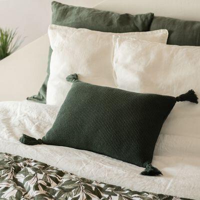 Coussin à pompons tricoté en coton - vert cèdre 35x50cm-BAHIA