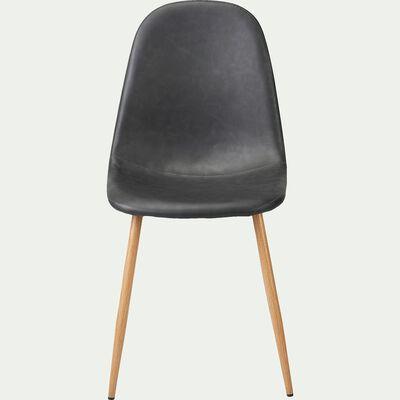 Chaise en acier et simili - noir-LOANA