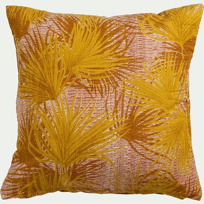 Coussin motif palmiers en coton - jaune 45x45cm-DOUM