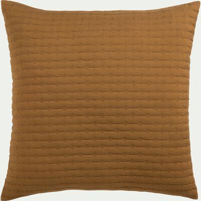 Housse de coussin en tissu surpiqué - jaune alep 65x65cm-BENITO