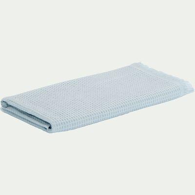 Serviette de toilette en coton nid d'abeille - bleu 50x100cm-Ricin