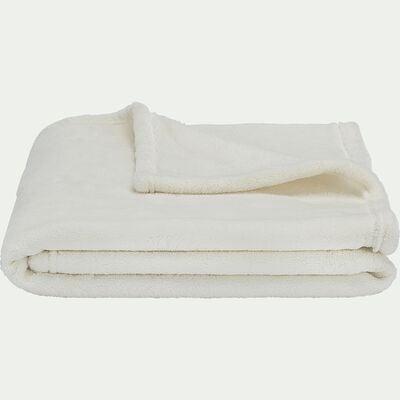 Plaid polaire - blanc 100x100cm-Amelie