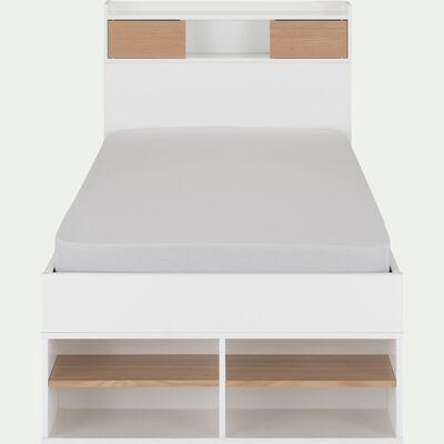Lit blanc avec multiples rangements 90x200cm-ROC