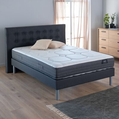 Ensemble de lit tête de lit boutonnée - gris 140x200cm-MONESTIER