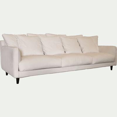 Canapé 6 places fixe en velours - beige roucas-LENITA