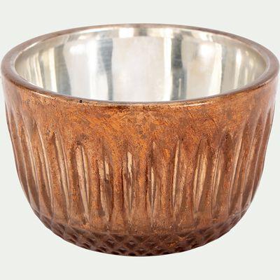 Photophore en verre - marron D8cm-ANFOS