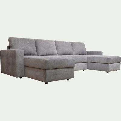Canapé en U convertible en tissu - gris restanque-HONORE